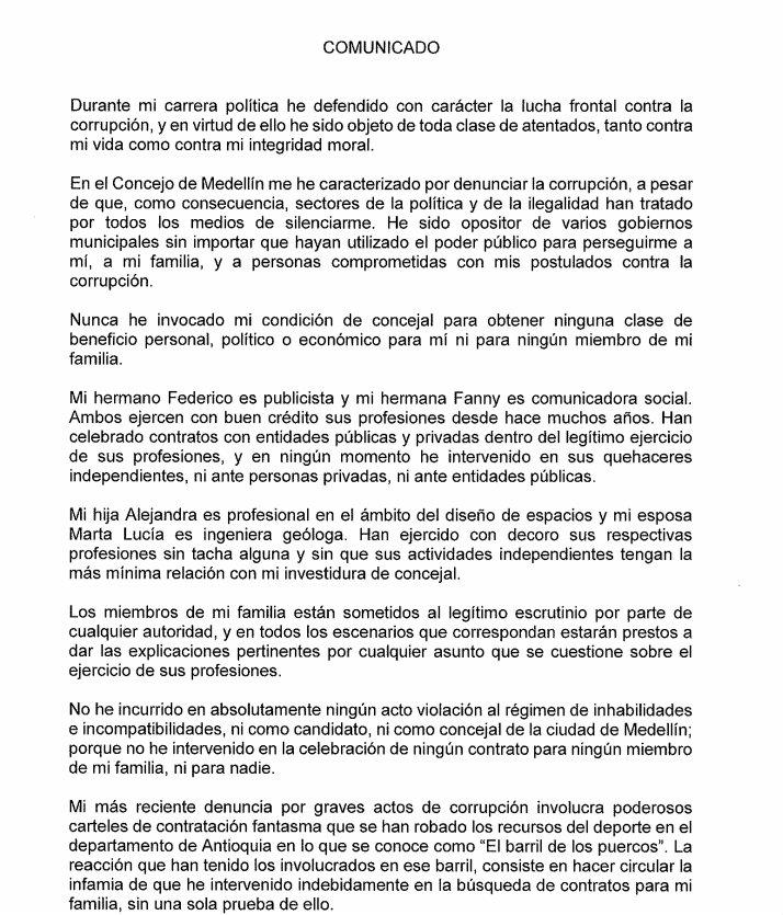 Comunicado Bernardo Alejandro Guerra Hoyos